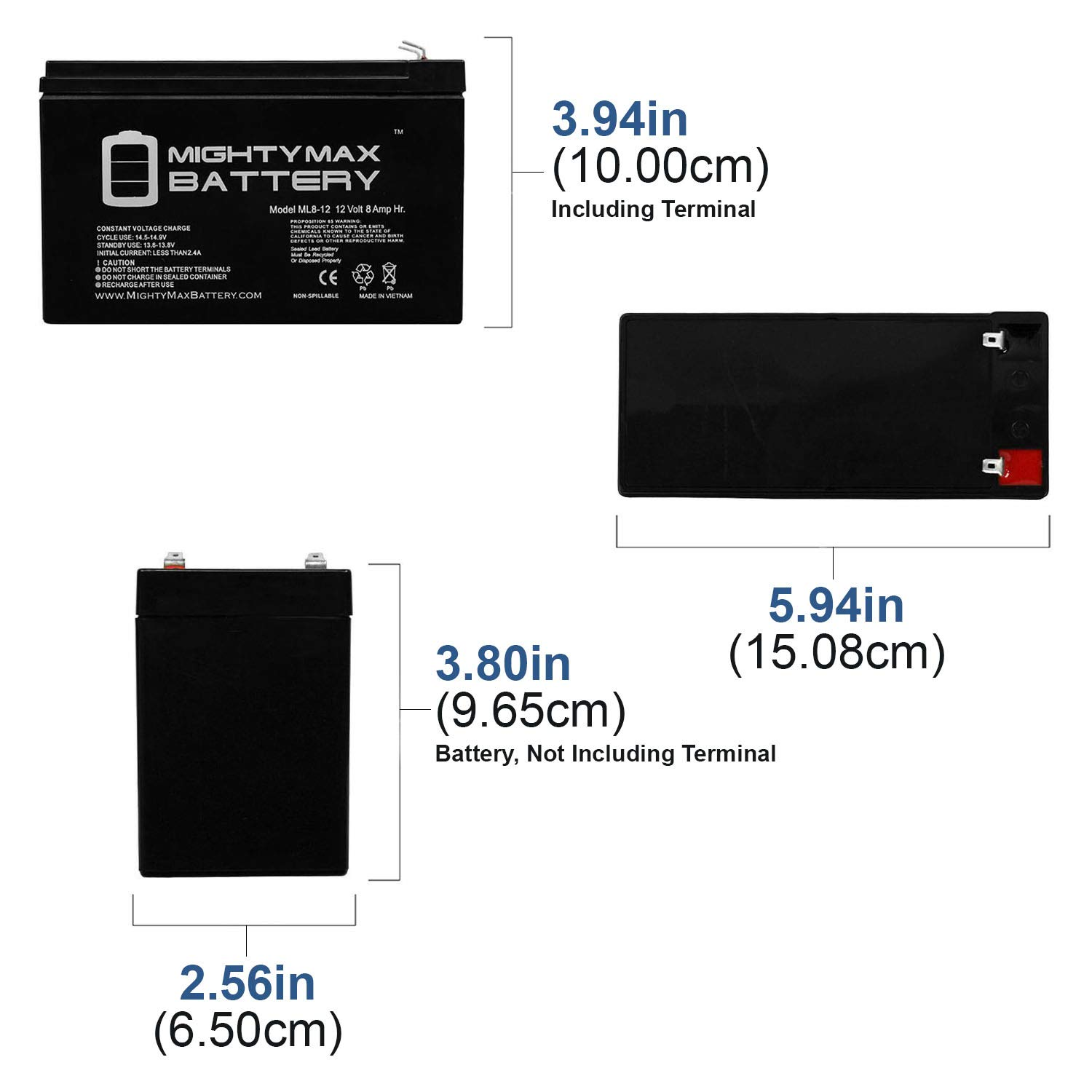 12V 8AH Replacement for GT12080-HG FiOS Systems Battery Brand Product Mighty Max Battery ML8-12