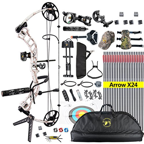 """TOPOINT Trigon Compound Bow Full Package,CNC Milling Riser,USA Gordon Composites Limb,BCY String,19""""-30"""" Draw Length,19-70Lbs Draw Weight,IBO 320fps (Snow CAMO)"""