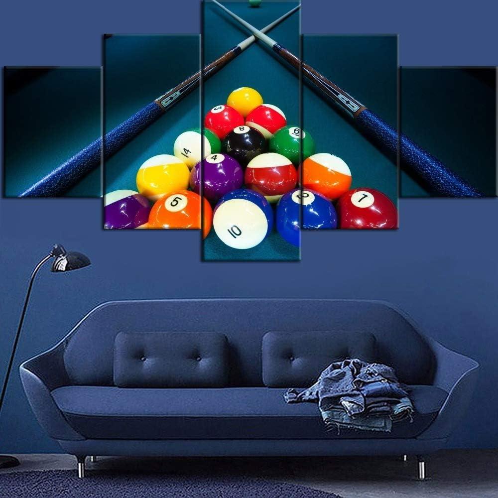 mmwin 5 Piezas Lienzo impresión Billar y Bola Tipo Cartel decoración del hogar Sala de Estar o Dormitorio: Amazon.es: Hogar