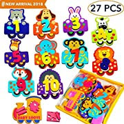 Foam Bath Toys Numbers Animals - Best Baby Bath Toy For Toddlers Kids Girls Boys - Non Toxic Bath Numbers Toy Set of 27pcs - Preschool Educational Floating Bathtub Toys - Bath Toy Storage Mesh Bag
