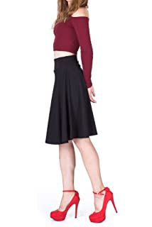 0e643e6c5 Dani's Choice Impeccable Elastic High Waist A-line Full Flared Swing Skater Knee  Length Skirt