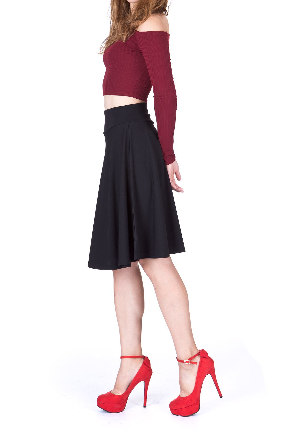 Impeccable Elastic High Waist A-line Full Flared Swing Skater Knee Length Skirt (M, Black)