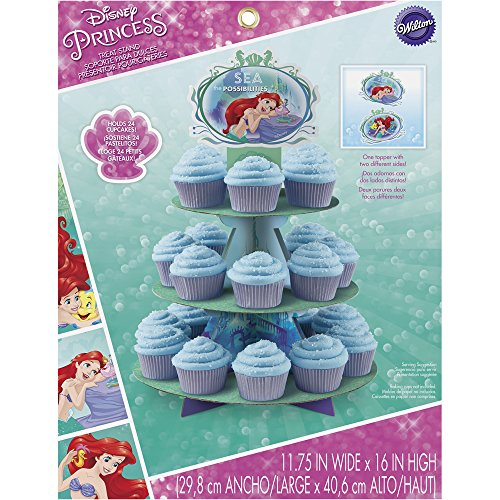 Wilton 1512-5660 Disney Princess Little Mermaid Ariel Cupcake Stand, Assorted (Cake Stand Disney)