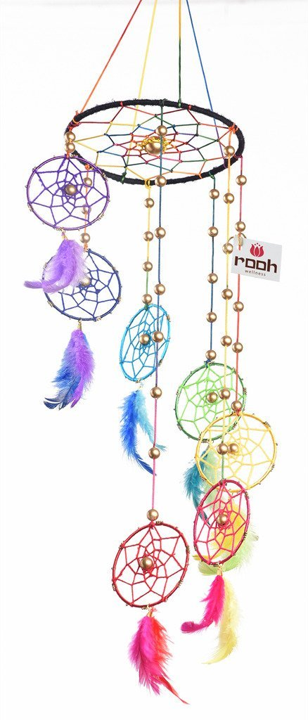 Rooh Dream Catcher ~Rainbow Spiral ~ Handmade Hangings for Positivity (Can be used as Home Décor Accents, Wall Hangings, Garden, Car, Outdoor, Bedroom, Key chain) (rainbow) … (large)