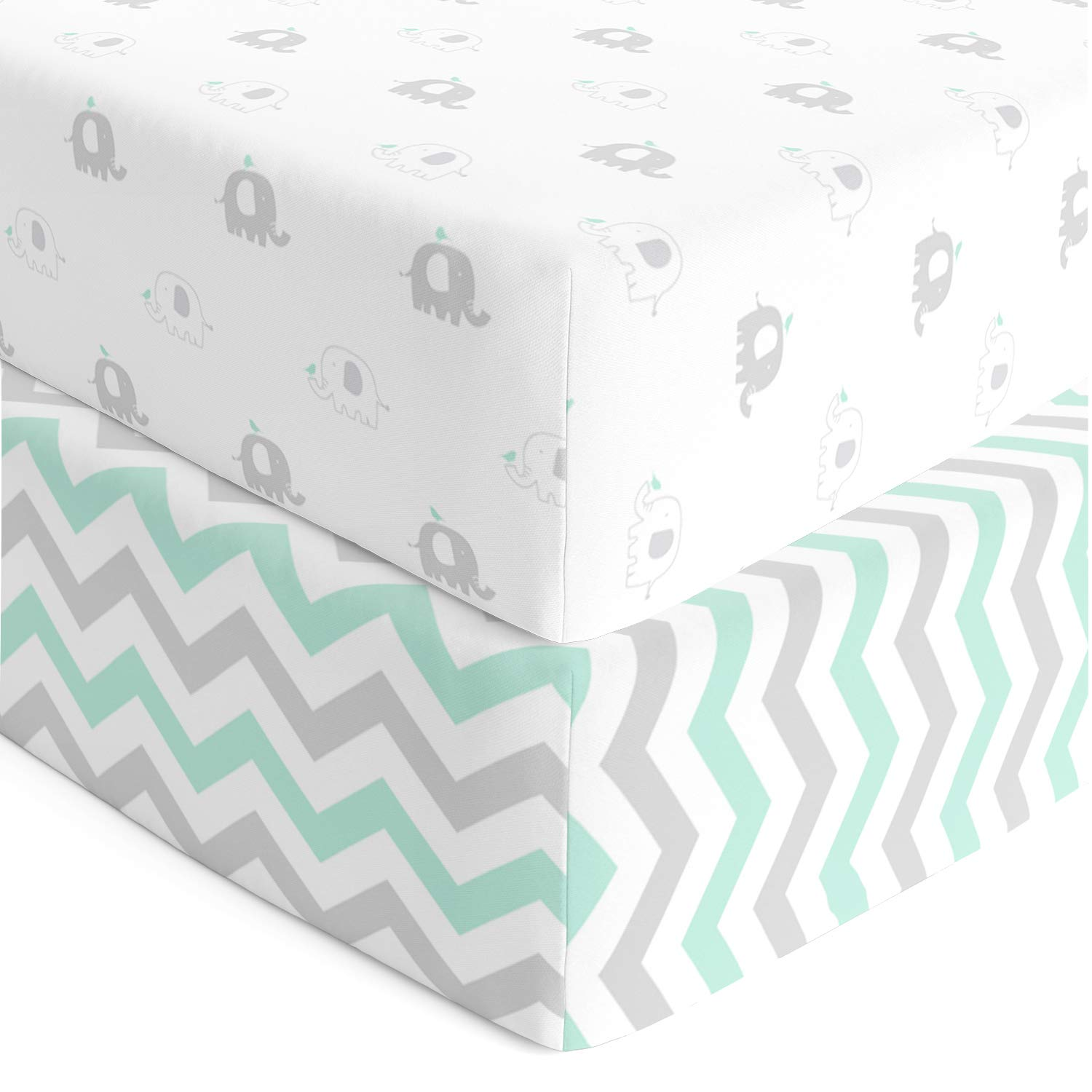 Cuddly Cubs Softest Fitted Crib Sheets Set | 2 Pack Toddler Bed Sheet for Boy or Girl | Stretchy Jersey Cotton Bedding for Standard Mattress | Grey & Teal Chevron, Safari Elephants by Cuddly Cubs