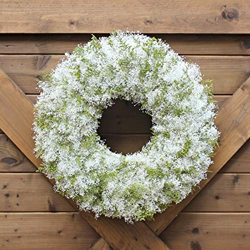 Handmade Natural Dried Preserved Floral Wreath | Green and White Arrangement | Dried Floral Home Accent | All Season Decorative Wreath (Floral Dried Wreath)