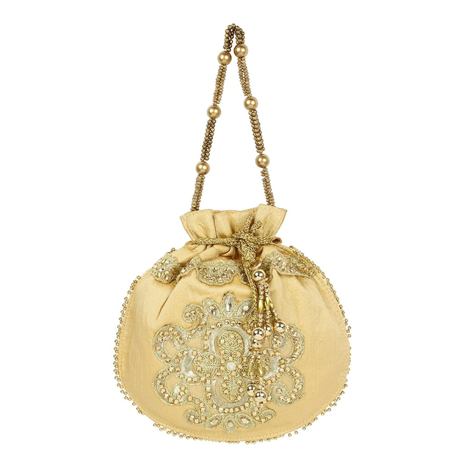 Vintage & Retro Handbags, Purses, Wallets, Bags Purse Collection Floral Shape Beautiful Drawstring Gold Colour Potli Purse For Womens $12.00 AT vintagedancer.com