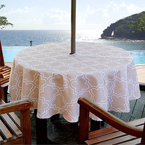 ColorBird Elegant Moroccan Outdoor Tablecloth Waterproof Spillproof Polyester Fabric Table Cover with Zipper Umbrella Hole for Patio Garden Tabletop Decor (60 Round, Zippered, Khaki)