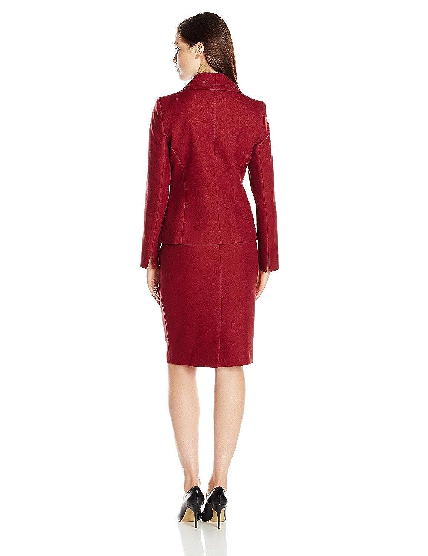 Bordeaux Jacob Oliver New style Women's 3 Button Double Lapel Collar Jacket and Skirt Set comfortable