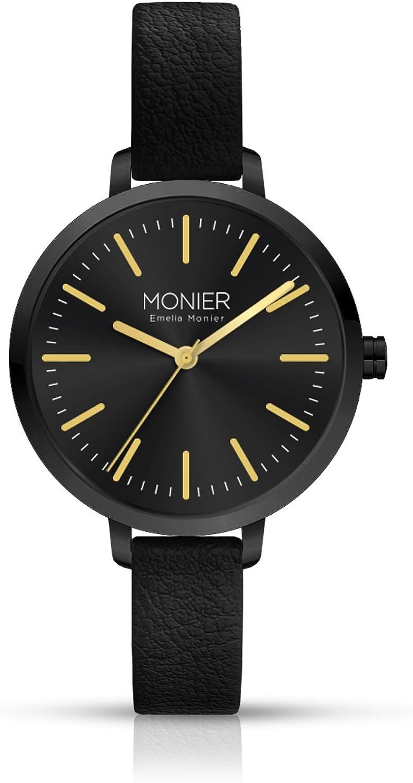 Emelia Monier M Wish Black Women s Watch with Black Leather Strap EML008-01BL