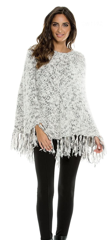Elan Boukle Yarn One Size Black Sweater Poncho