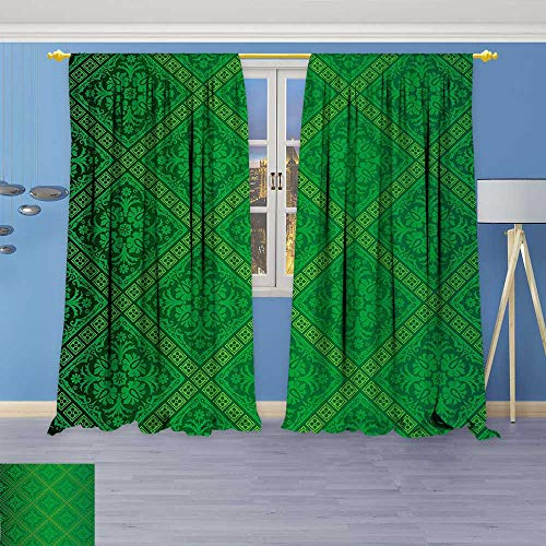 (Philiphome Blackout Room Darkening Curtains Vector Illustration Seamless Pattern of Foliage Wallpaper Decorative Pattern Forest Green Window Panel Drapes Grommet Top)