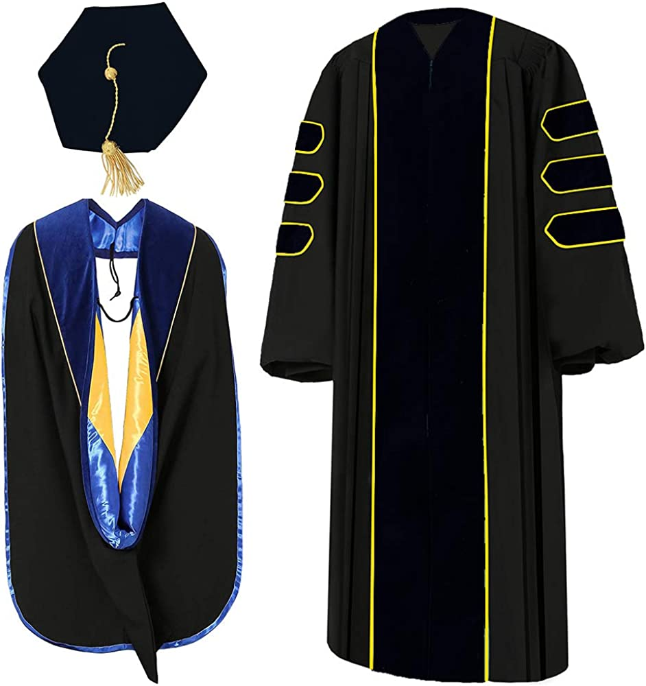 GraduatePro Graduation Gown Graduation Cap Tam 8 Sided Hood for Doctoral