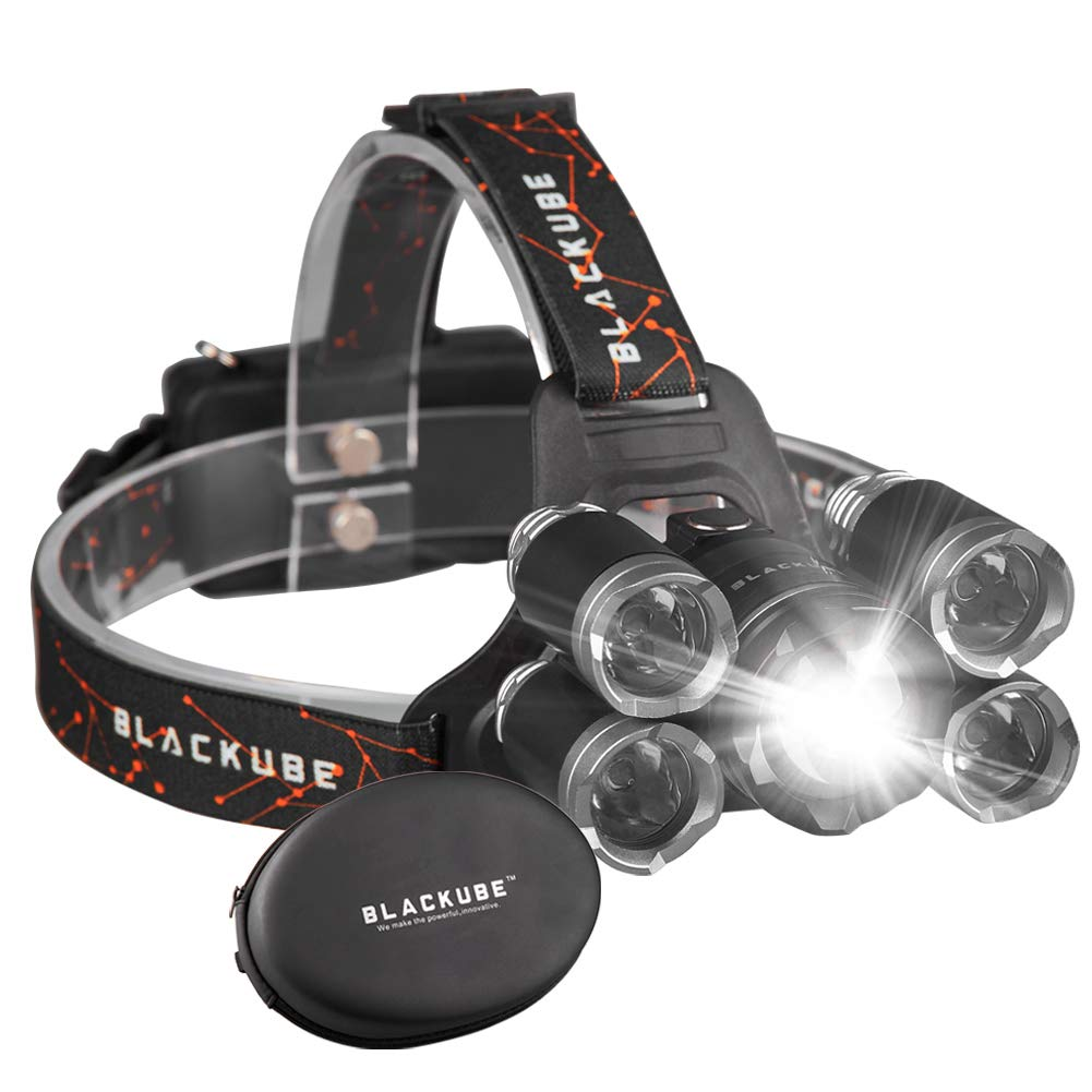Bright LED Headlamp 4 Modes Headlight,Rechargeable 5 LED headlamps Zoomable Headlight Black Grey Best For Camping,Hiking,Cycling,Running,Dog Walking,Fishing,Night Reading,DIY Works by Blackube (Image #1)