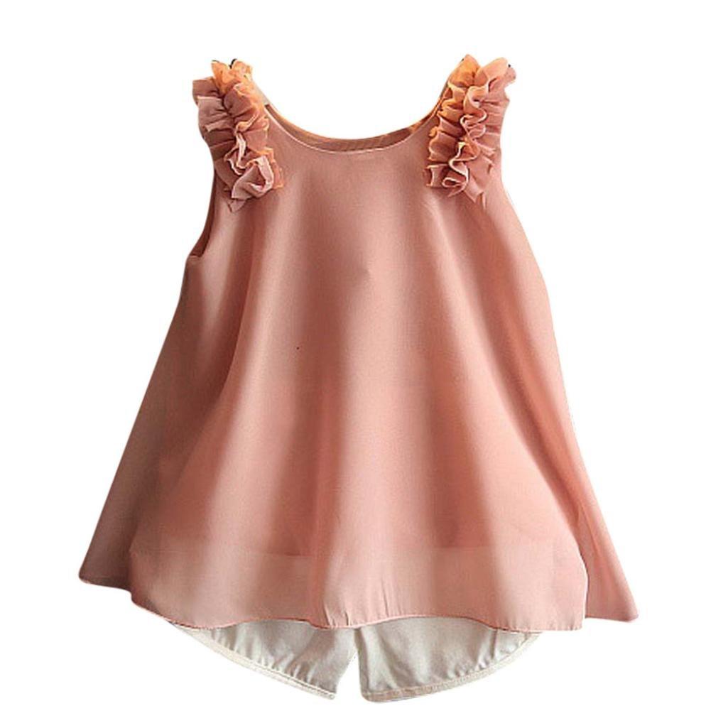 3645934659 Amazon.com  Wensltd Toddler Kids Baby Girls Chiffon Vest T-Shirt+Bow Short  Pants 2pcs Outfit Clothes Set (4 5T