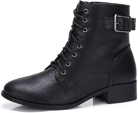 comprar CAMEL CROWN Botines Mujer Combat Boots Buckle STRP Zip Botas Antideslizante Cómodo para Casual Diario Compras Negro Marrón Caqui EU37-42