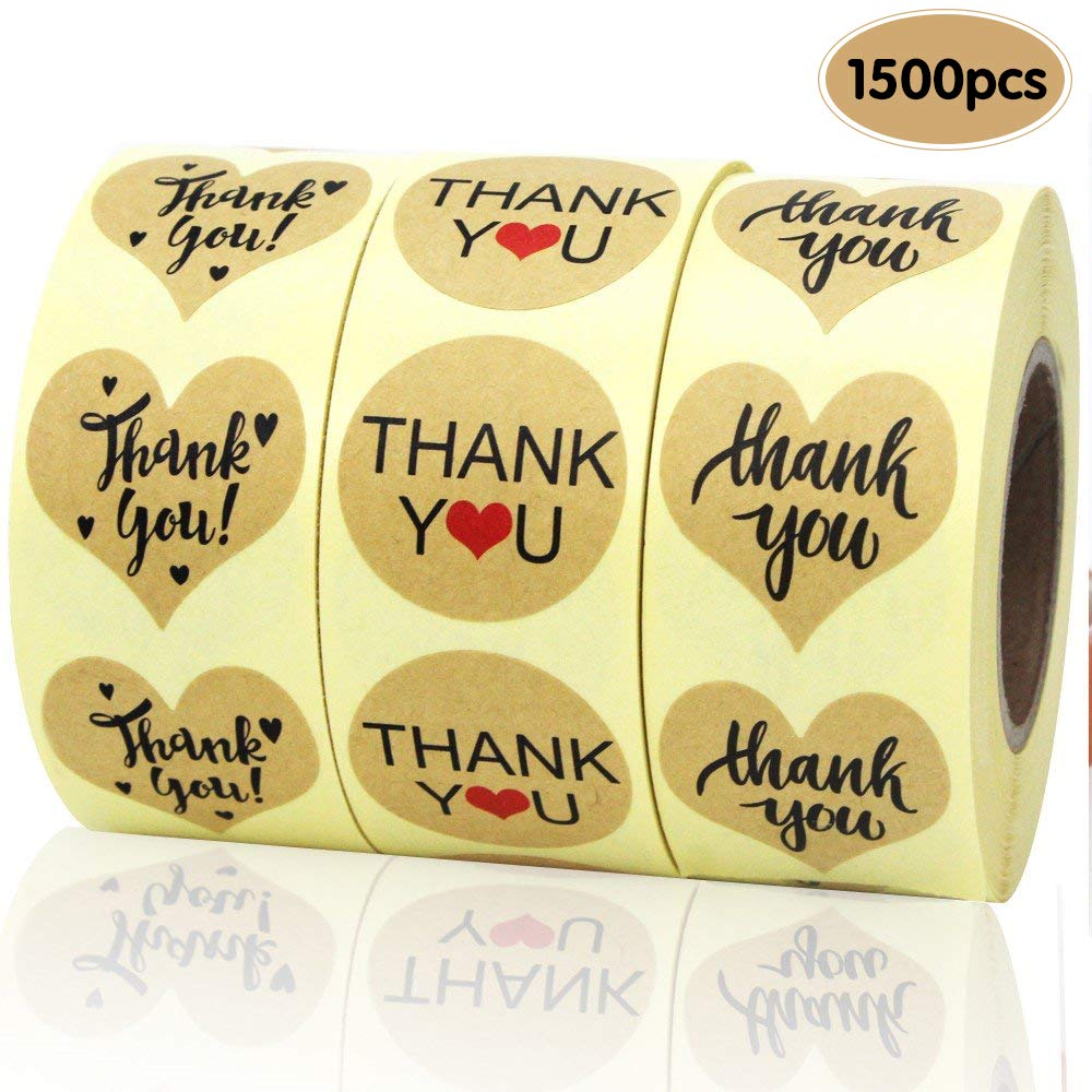 EOOUT 1500pcs Heart Shape Thank You Stickers, Kraft Paper Thank You Adhesive Labels, Heart and Round, 3 Patterns by EOOUT