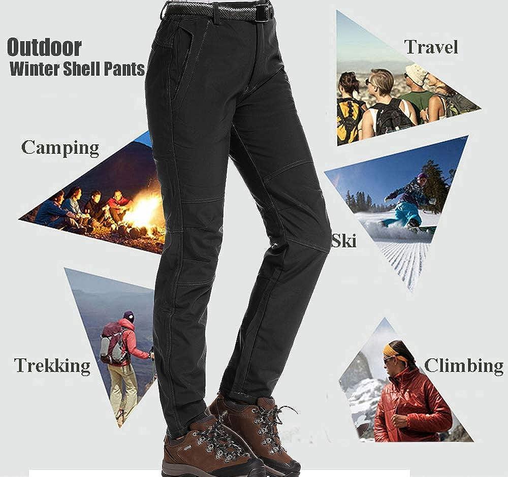 Womens Hiking Waterproof Pants Outdoor Windproof Fleece Lined Soft Shell Insulated Winter Pants Fishing Safari Travel