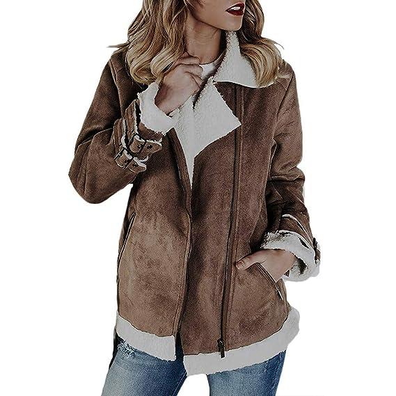 Abrigos Mujer, Hanomes Mujeres Faux Suede Warm Jacket Zipper Up Front Coat Outwear con Bolsillos: Amazon.es: Ropa y accesorios