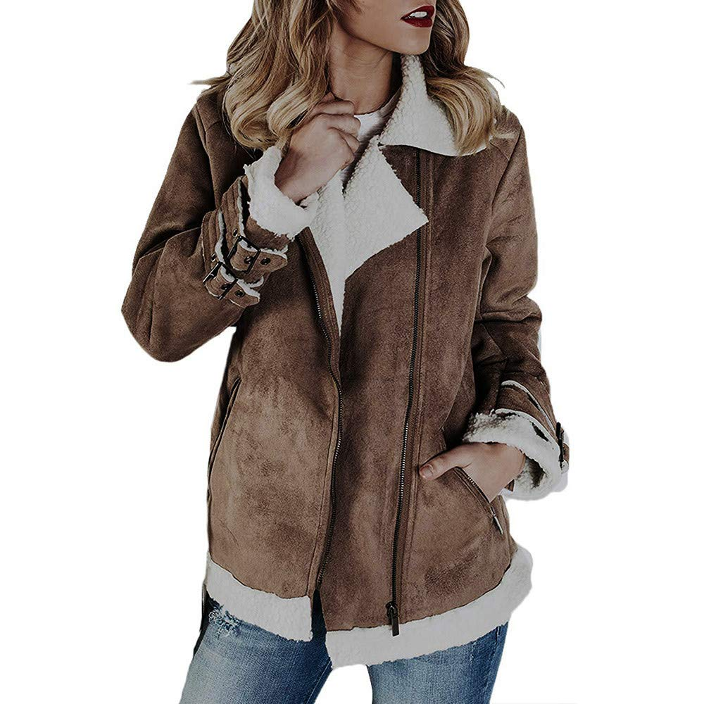 Amazon.com: Women Faux Suede Zipper Up Warm Jacket Clearance, Ladies Winter Coat Vintage Outwear with Pockets Casual Overcoat: Clothing