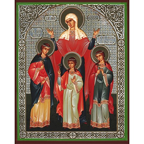 (St. Saint Sophia Sofia with Daughters Russian Orthodox Wood Icon Faith, Hope and Love 6 1/4 Inch)