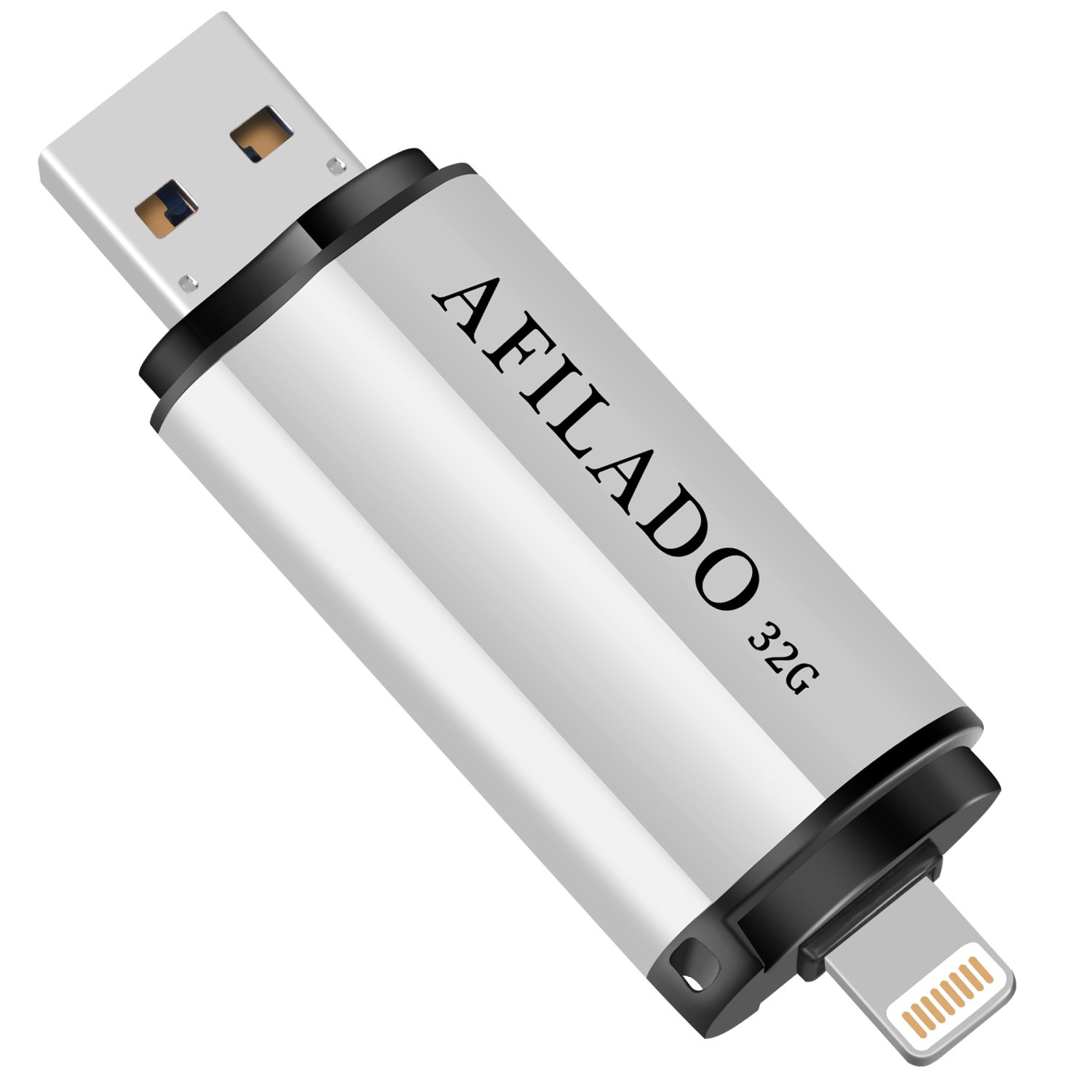 iPhone Flash Drive 32GB USB 3.0 Memory Stick, AFILADO iOS Thumb Pen Drive, Lightning External Storage Expansion Compatible Apple iPad/iPhone / Android & Computers (Silver)