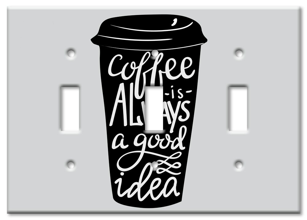 Art Plates Brand Double Toggle Switch//Wall Plate Coffee is Always Good IDea