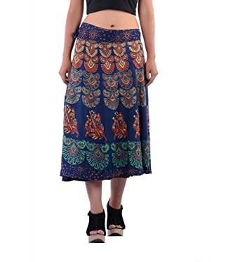 46a16830938 Image Unavailable. Image not available for. Color  INDIAN HANDMADE GYPSY  DECOR BOHEMIAN MANDALA IN ONE SHORT SKIRT