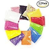 Mini Styrofoam Balls for Slime,Colorful Small Foam Balls Filler Beads for DIY Creative Crafts Decorations and Party Decoration 0.08-0.18 Inch,12 Pack