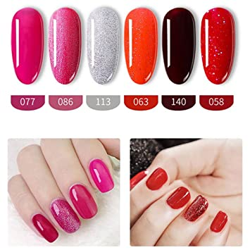 Amazon.com : SISI TIME 6PCS Gel Nail Polish Set Soak Off Gel Nails ...