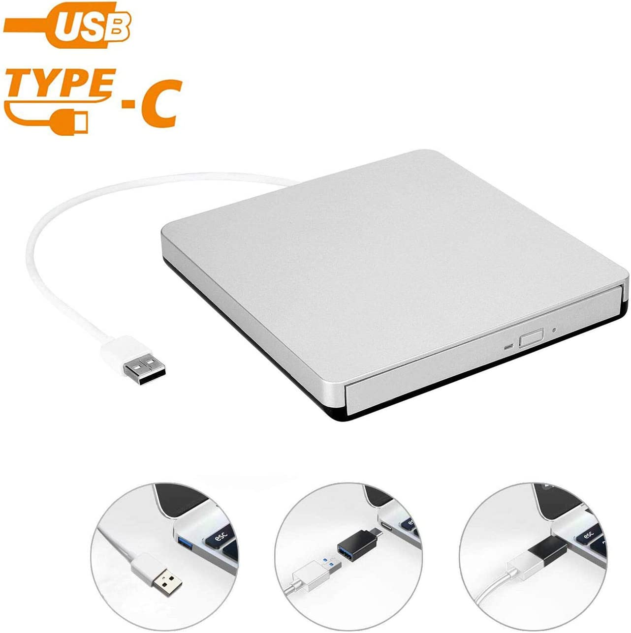 External USB 2.0 DVD Drive, DVD +/-RW CD +/-RW Writer Burner Player with Classic Silvery for MacBook Air, MacBook Pro, Mac OS, PC Laptop