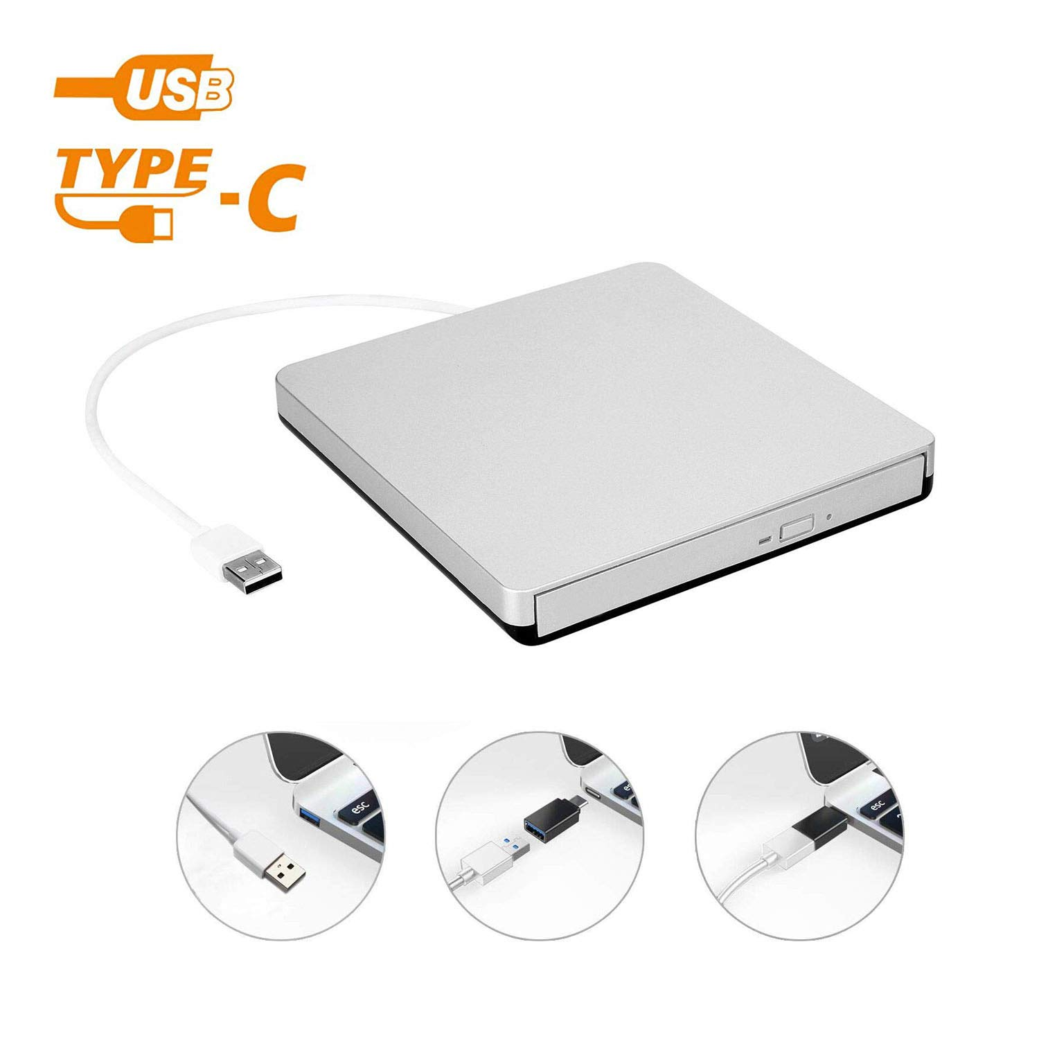 External USB 2.0 DVD Drive, DVD +/-RW CD +/-RW Writer Burner Player with Classic Silvery for MacBook Air, MacBook Pro, Mac OS, PC Laptop by DoHonest