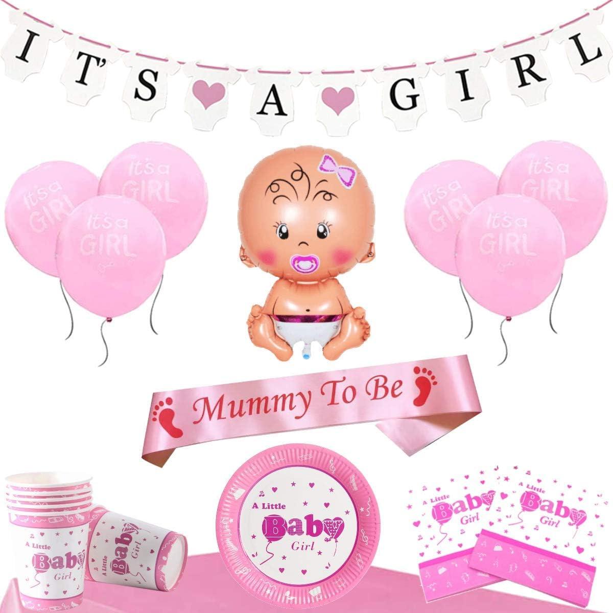 Band f/ür Baby Shower Dekoration Ihrer Feier vor der Geburt Rosa
