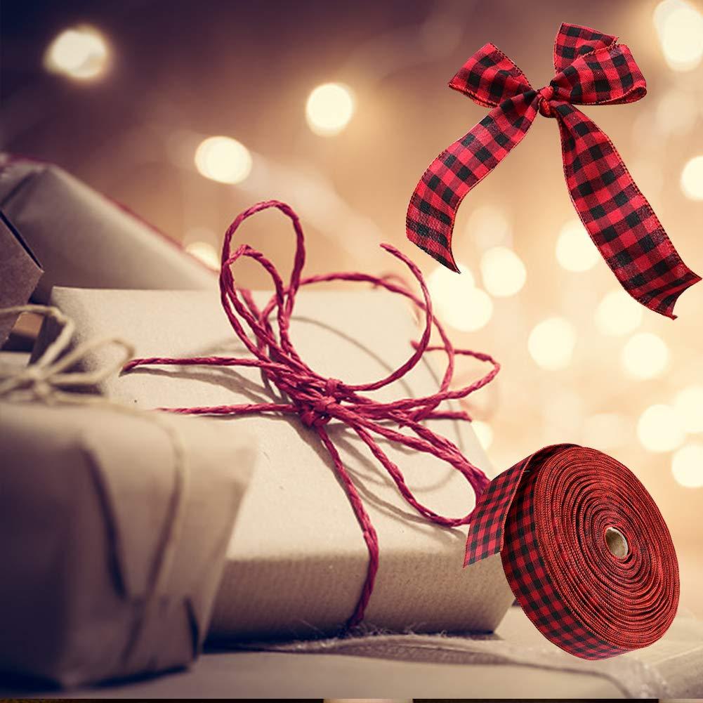 decorazioni natalizie decorazioni per feste Nastro in iuta con motivo scozzese rosso e nero fai da te 80 x 5 cm 1 fiocchi floreali artigianali per regali di Natale