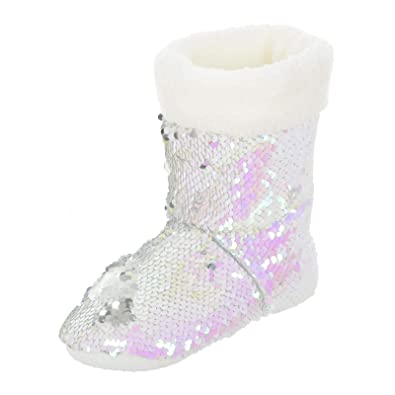 49163e1b2 Girls Slipper Boots Sparkling Colour Sequins White Fleece Lining Non Slip  Sole Mermaid Scales Size Kids