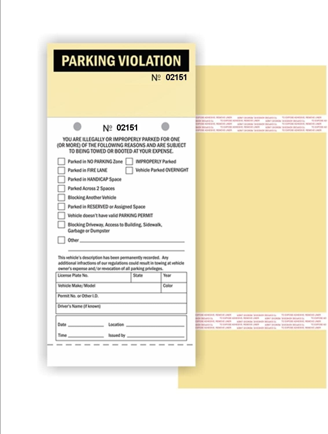 2 Part Carbonless Manila Tag with Perforation Stub and Adhesive Strips Parking Violation 4.25 x 9.25 No. 2151-2200 50 // Pack Numbered Consec