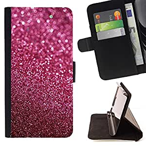 For HUAWEI P8 Lite - Glitter Pink Purple Bling Sand Reflective /Leather Foilo Wallet Cover Case with Magnetic Closure/ - Super Marley Shop -