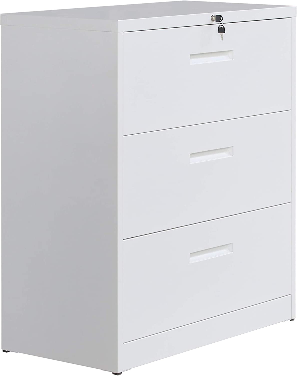 Heavy Duty Lateral File Cabinet with 3 Drawers 1 Lock Metal Cabinet for Keeping Office Supplies Assemble Required (White)