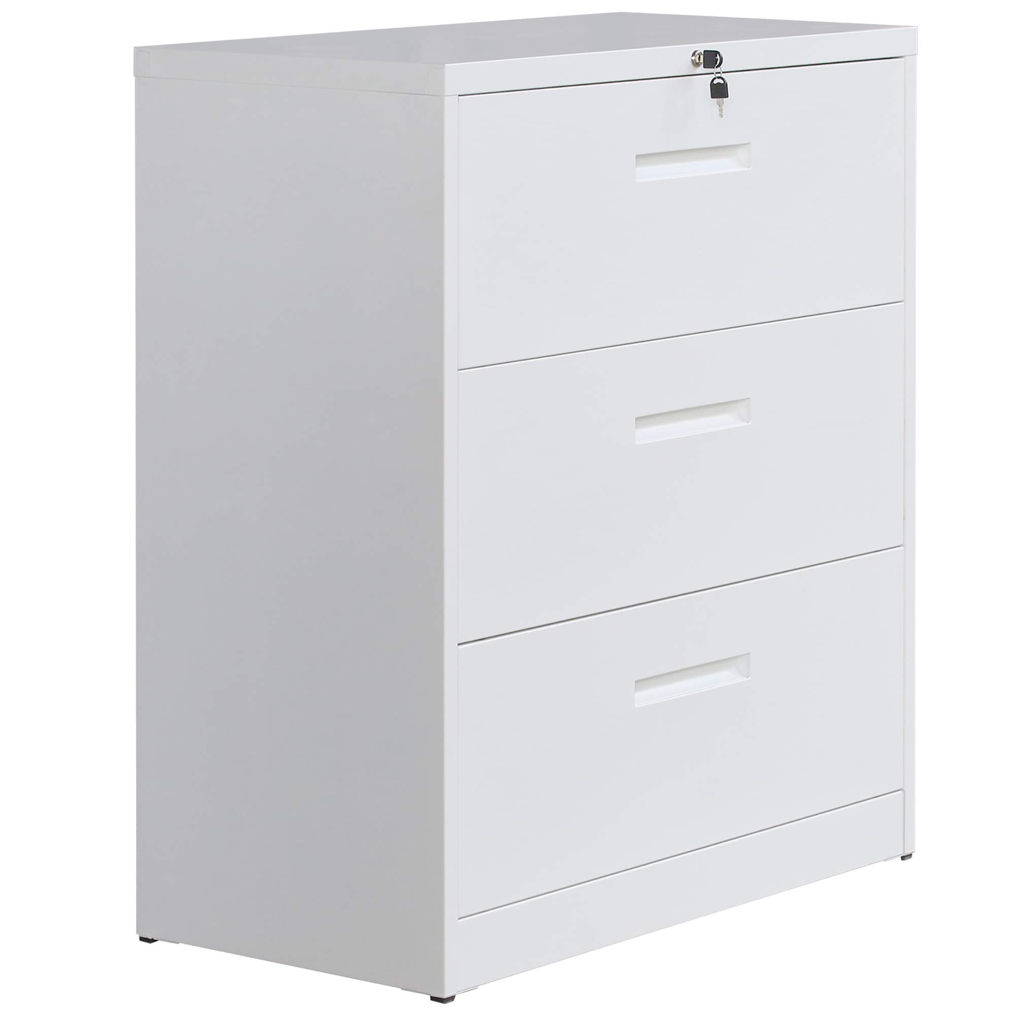 P PURLOVE Lateral File Cabinet Lockable Metal Heavy Duty 3 Drawer Lateral File Cabinet (White)