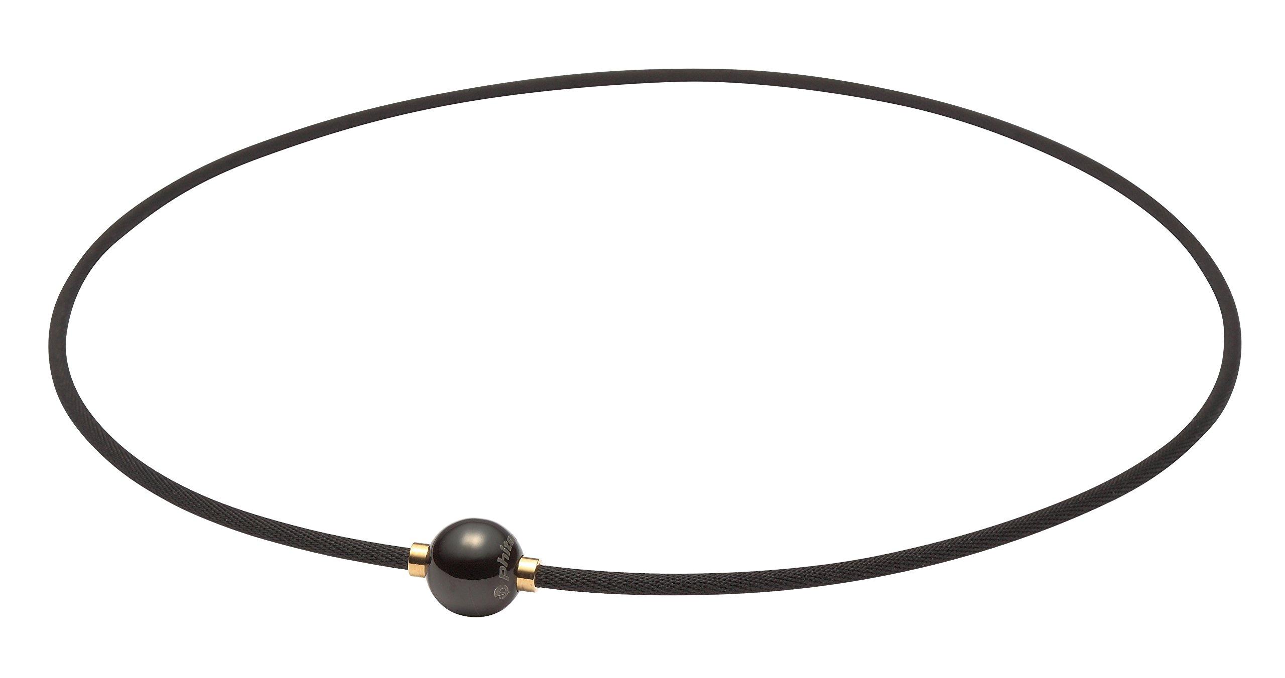 Phiten RAKUWA Necklace X100 Mirror Ball Titanium Care Designed in JAPAN [Japan Import] (15.7'' (40cm), Black x Gold)