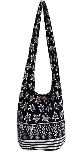 bbf3584b3e26 Amazon.com  Thai Turtles Cross Body Shoulder Bag Crossbody Hippie Hobo Boho  Sling Yaam (Black)  Clothing
