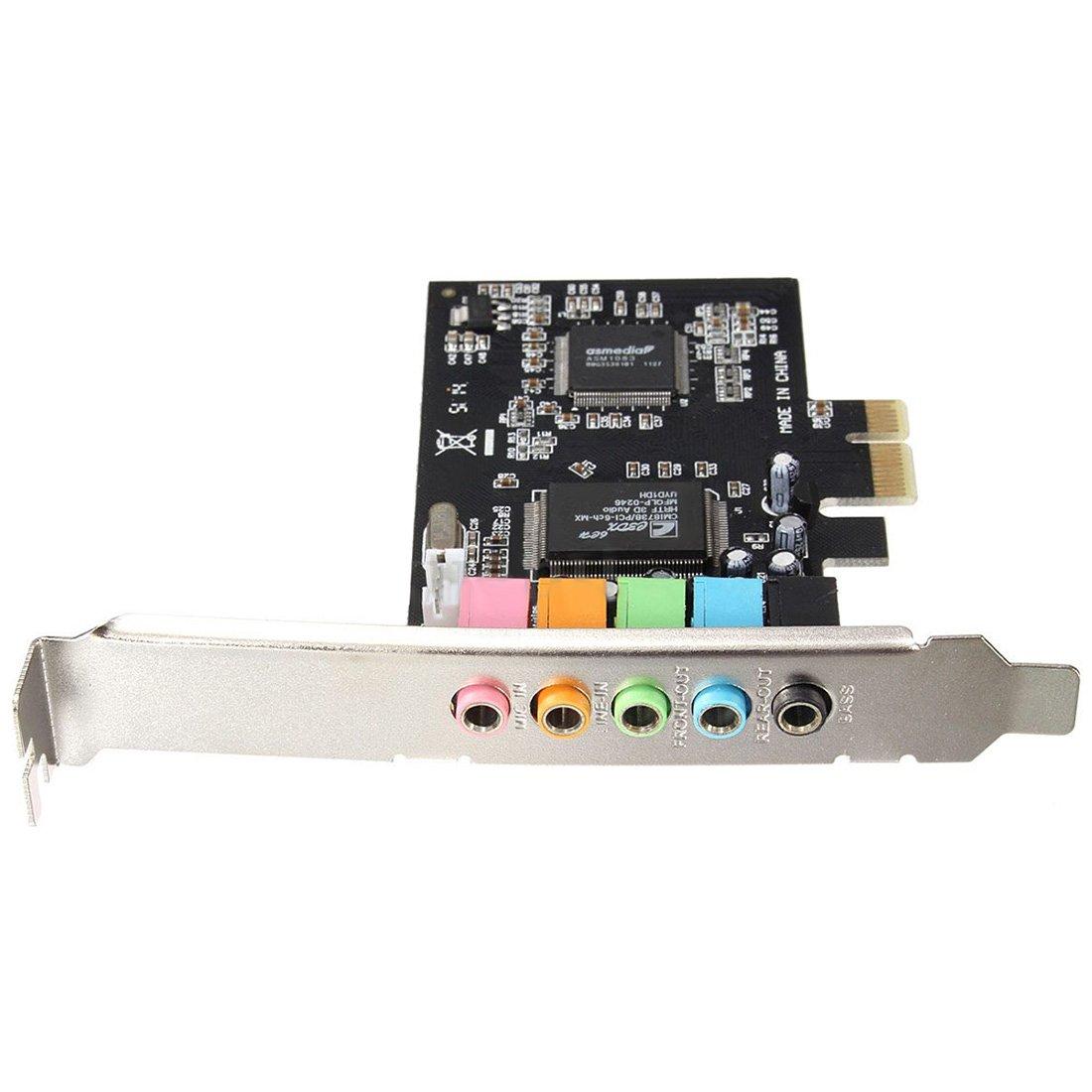CMI8738 stereo Surround Sound Card - SODIAL(R)PCI-E 5.1 Sound 6 port sound card CMI8738 cinema stereo Surround Sound Card