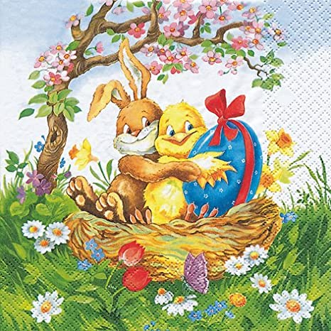 20 Servietten Easter Friends Osterfreunde Ostern 33x33cm