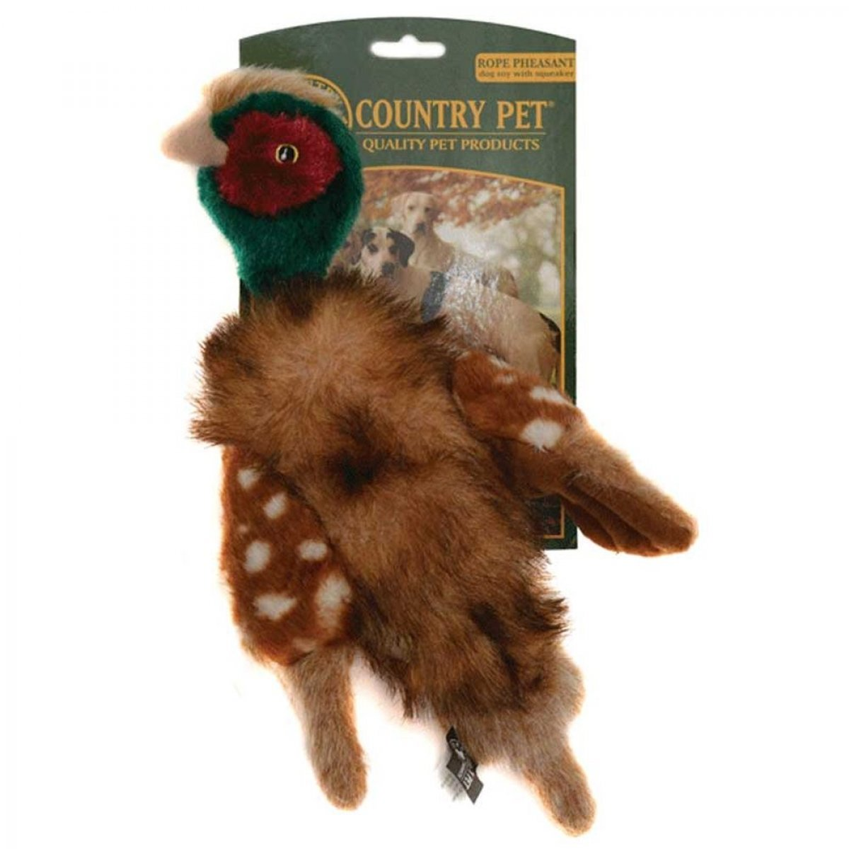 Country Pet Dog Toy Rope Pheasant with Squeaker, Large