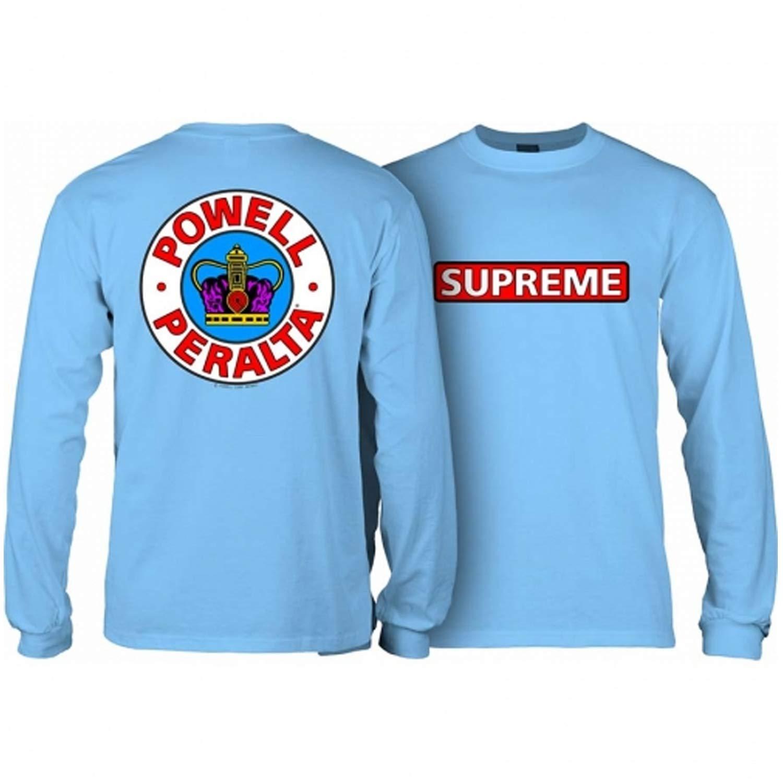 57bf352621ba Amazon.com: Powell-Peralta Skateboard Long Sleeve Shirt Supreme Carolina  Blue: Sports & Outdoors