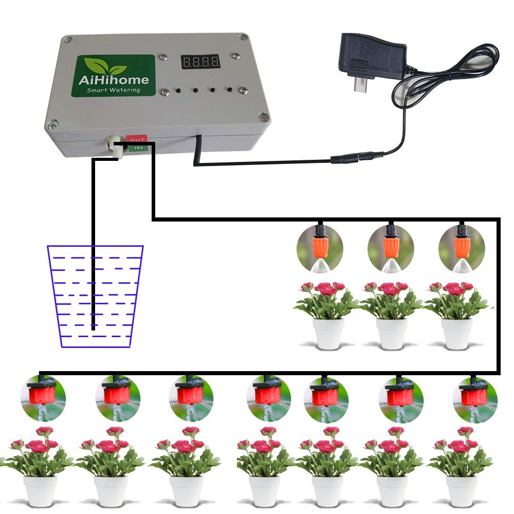 AiHihome Automatic Watering System Indoor Plant Auto Watering - By DIY Timer Irrigation Controller Watering for Garden Flower Plant