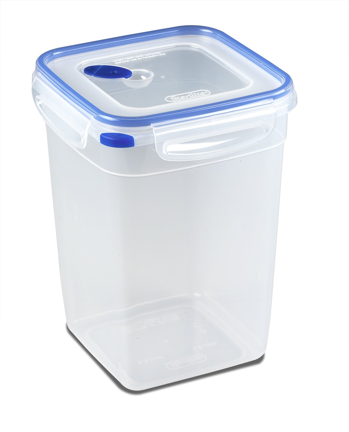 Sterilite 03344706 Ultra-Seal 16.2 Cup Food Storage Container, See-Through Lid & Base with Blue Accents, 6-Pack