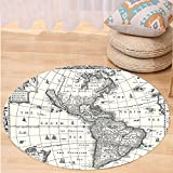 VROSELV Custom carpetMap Vintage Decor Image of Antique Map America in 1600s World in Medieval Time Ancient Era Retro Home Decor Bedroom Living Room Dorm Grey Beige Round 72 inches