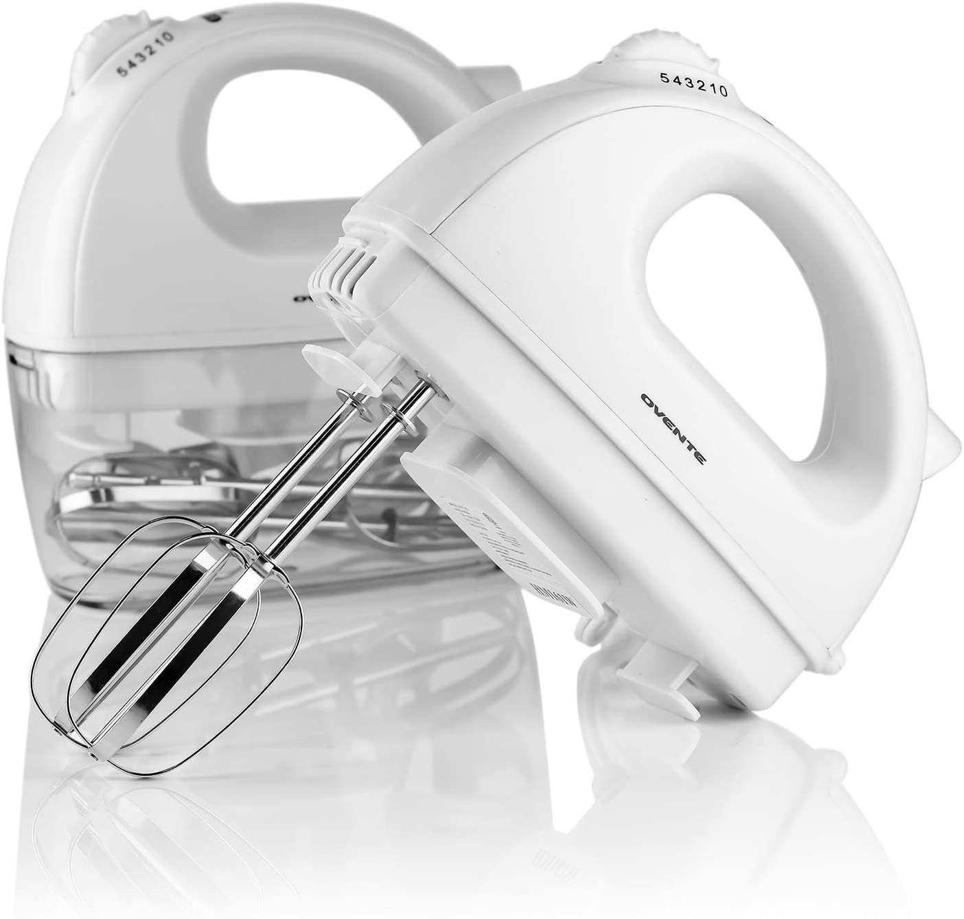 OVENTE Electric Hand Mixer, 5 Mixing Speeds, 200W, 2 Stainless Steel Chrome Beaters Free Snap-On Case, White HM161W