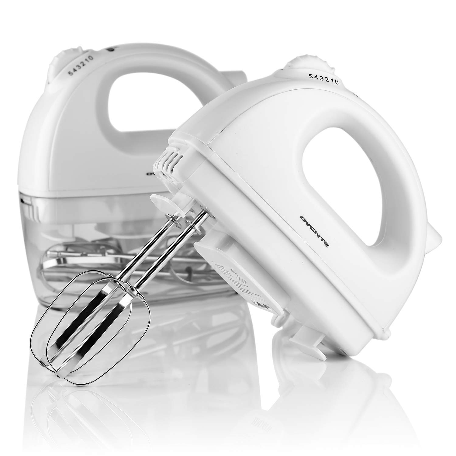 Ovente Electric Hand Mixer, 5 Mixing Speeds, 200W, 2 Stainless Steel Chrome Beaters & Free Snap-On Case, White (HM161W) by Ovente